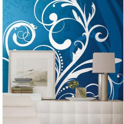 Mural Arabesco Azul e Branco