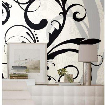 Mural Arabesco Branco e Preto