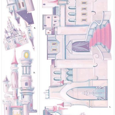 Adesivo Castelo das Princesas Disney com Glitter