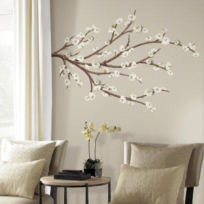 Adesivo Floral Branco com Enfeite de Flores