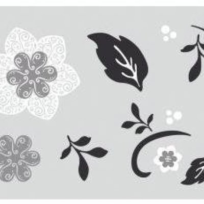 Adesivo Floral com Enfeite de Flor